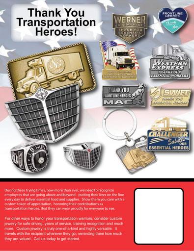 Driver Appreciation Custom Award Jewelry
